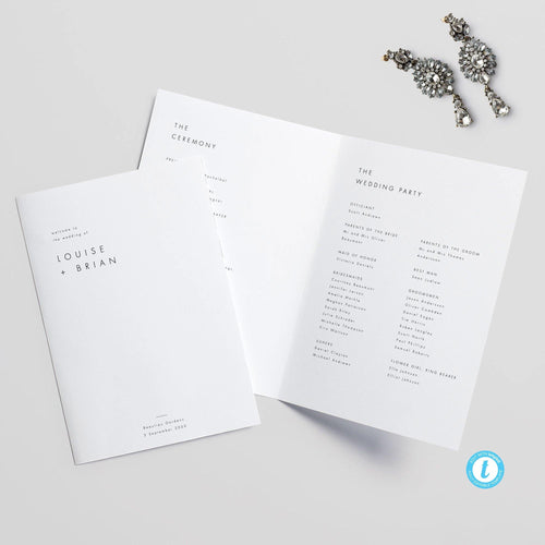 Minimalist Wedding Program Booklet - Pearly Paper