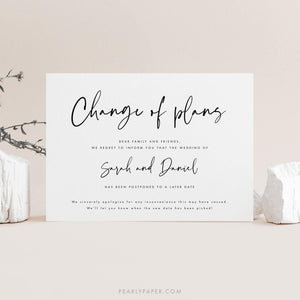 Modern Postponed Wedding Template - Pearly Paper