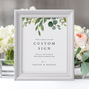 Custom Sign Template Greenery Signs - Pearly Paper