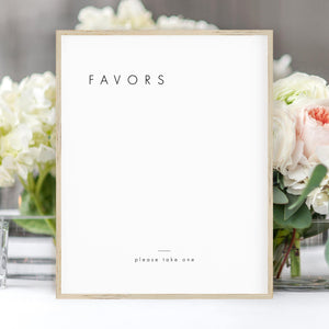 Minimalist Favors Sign - Pearly Paper