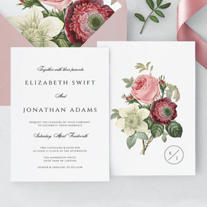Marsala Wedding invitation template Floral - Pearly Paper