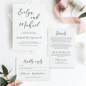 Modern Wedding Invitation Printable Invitation - Pearly Paper