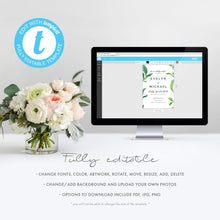 Load image into Gallery viewer, Greenery wedding invitation template - Pearly Paper