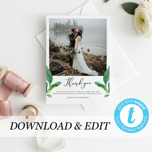 Greenery Wedding Thank You Photo Card - Pearly Paper
