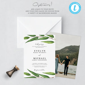 Greenery wedding invitation template - Pearly Paper