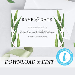 Greenery wedding Save the Date - Pearly Paper