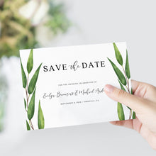 Load image into Gallery viewer, Greenery wedding Save the Date - Pearly Paper