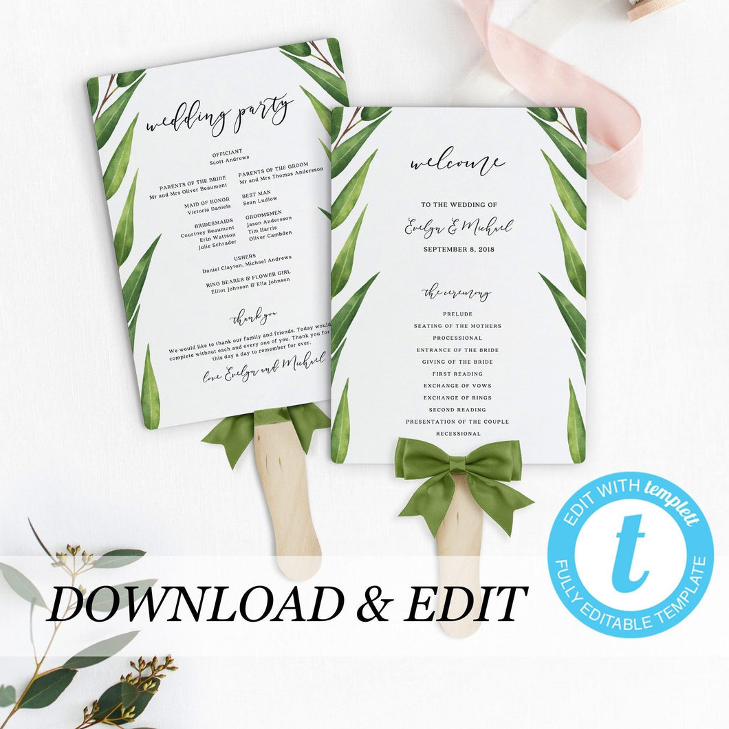 Greenery wedding program Fan - Pearly Paper