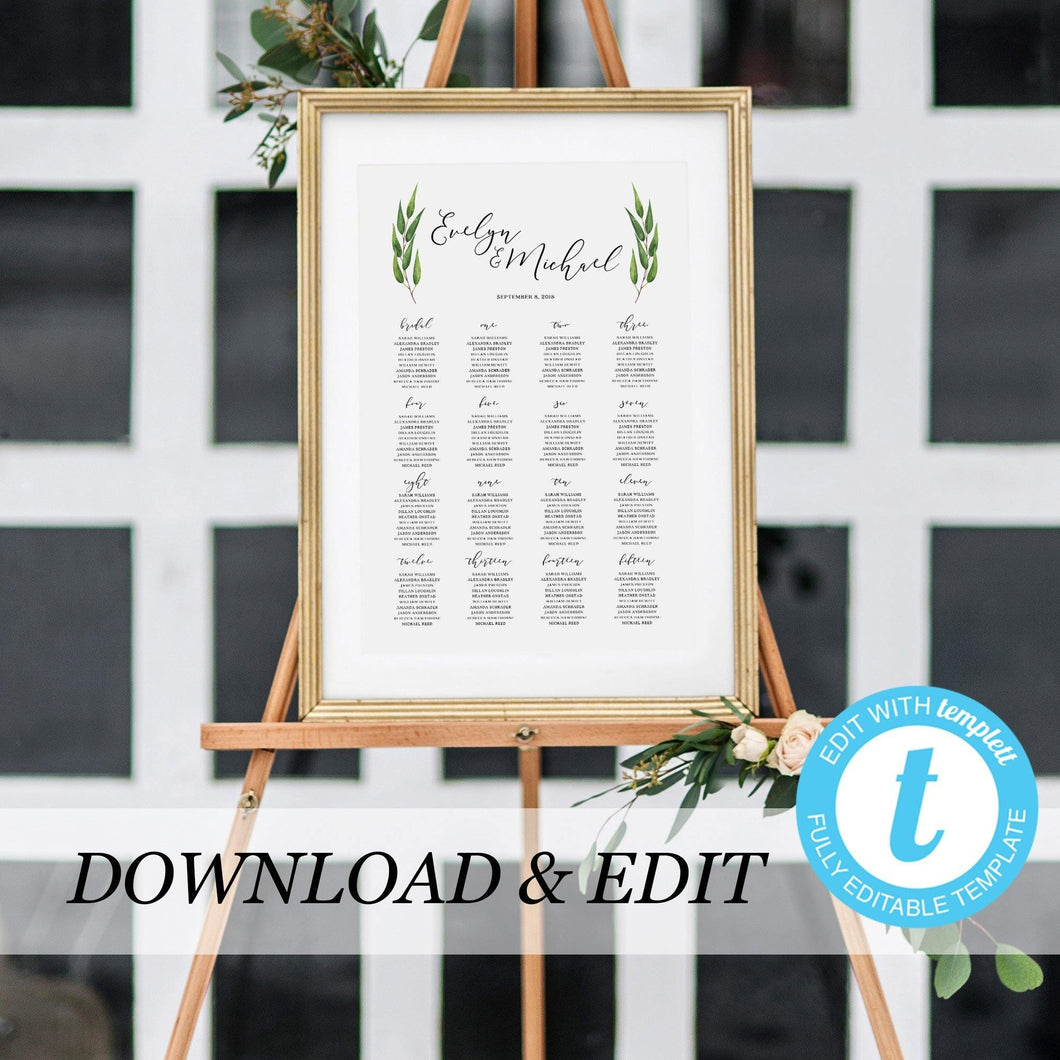 Greenery seating chart Sign - Pearly Paper