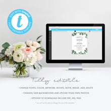 Load image into Gallery viewer, Eucalyptus wedding, Wedding Invitation Template, - Pearly Paper