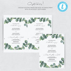 Greenery Wedding Invitation Template Eucalyptus - Pearly Paper