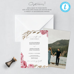 Templett Wedding Invitation Template Greenery - Pearly Paper