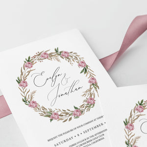 Wedding Invitation Template Pink Greenery - Pearly Paper