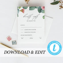 Load image into Gallery viewer, Greenery RSVP card Template - Pearly Paper