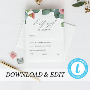 Greenery RSVP card Template - Pearly Paper