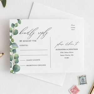 Greenery RSVP card Template Eucalyptus - Pearly Paper