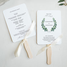 Load image into Gallery viewer, Wedding program Fan Eucalyptus - Pearly Paper