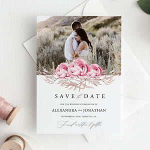 Rustic Floral Photo Save the Date - Pearly Paper