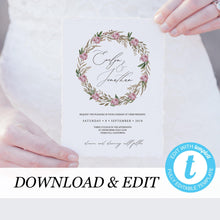 Load image into Gallery viewer, Templett Wedding Invitation Template Greenery - Pearly Paper
