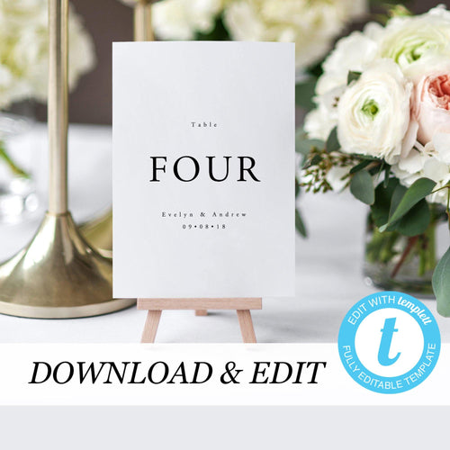 Simple Table Numbers - Pearly Paper