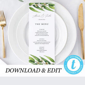 Wedding Menu Greenery - Pearly Paper