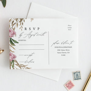Wedding RSVP postcard template wedding - Pearly Paper