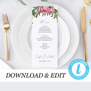 Wedding Menu Greenery Floral - Pearly Paper