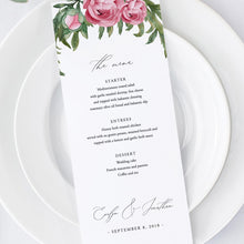 Load image into Gallery viewer, Wedding Menu Greenery Floral - Pearly Paper