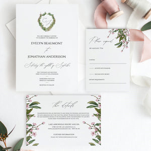 Wedding Invitation Template Editable Greenery - Pearly Paper