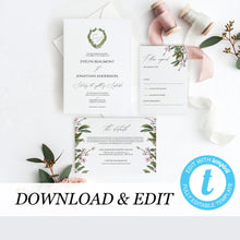 Load image into Gallery viewer, Wedding Invitation Template Editable Greenery - Pearly Paper
