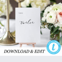 Load image into Gallery viewer, Table numbers template Templett Wedding - Pearly Paper