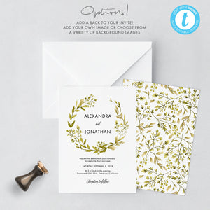 Greenery Wedding Invitation Template Woodland - Pearly Paper