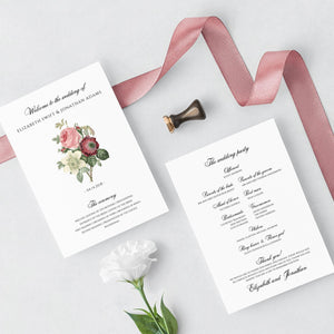 Marsala Wedding program template - Pearly Paper