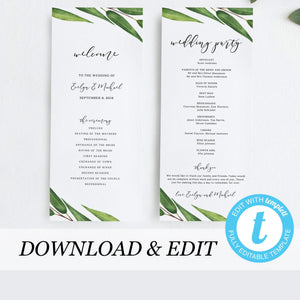Greenery wedding program - Pearly Paper