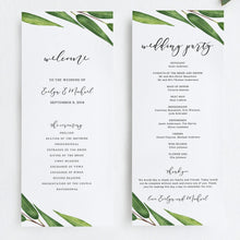 Load image into Gallery viewer, Greenery wedding program - Pearly Paper
