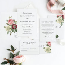 Load image into Gallery viewer, Marsala Wedding invitation template Floral - Pearly Paper