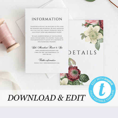Wedding Invitation Details card Template - Pearly Paper
