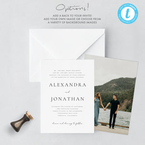 Wedding Invitation Printable Invitation Template, - Pearly Paper