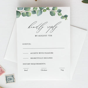 Greenery RSVP card Template Eucalyptus, - Pearly Paper