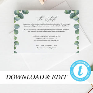 Greenery Details card Template Eucalyptus - Pearly Paper