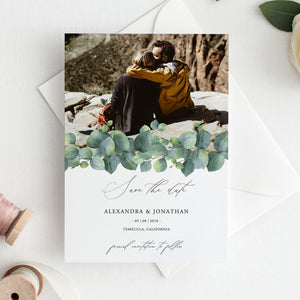 Eucalyptus Photo Save the Date Invite - Pearly Paper