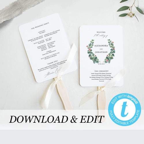 Wedding program Fan template Eucalyptus - Pearly Paper