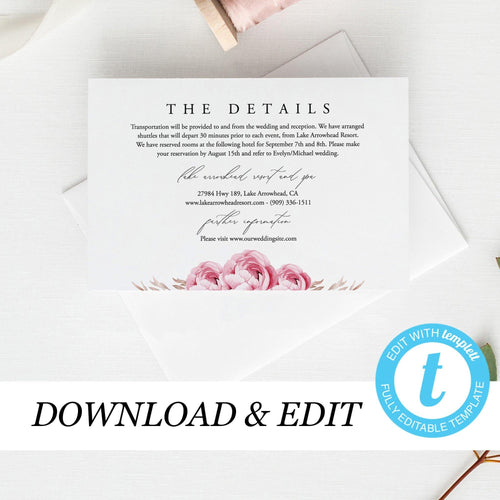 Marsala Wedding Invitation details card - Pearly Paper