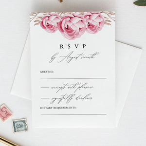 Marsala Wedding RSVP template - Pearly Paper