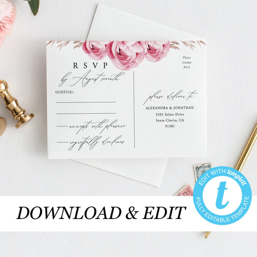 Marsala Wedding RSVP postcard template - Pearly Paper