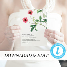 Load image into Gallery viewer, Floral Wedding invitation template pink - Pearly Paper