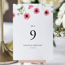 Load image into Gallery viewer, Pink Floral Table Number Card - Pearly Paper