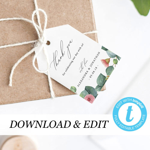 Wedding Thank You Tag Eucalyptus Floral - Pearly Paper