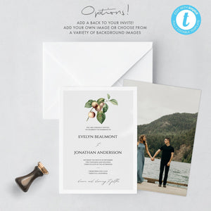 Rustic Wedding Invitation Template - Pearly Paper