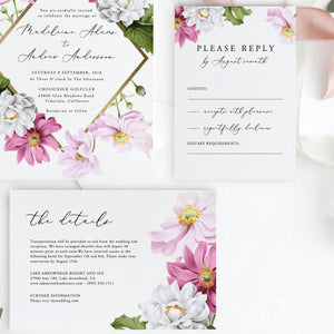 Floral Wedding Invitation Printable Invitation - Pearly Paper